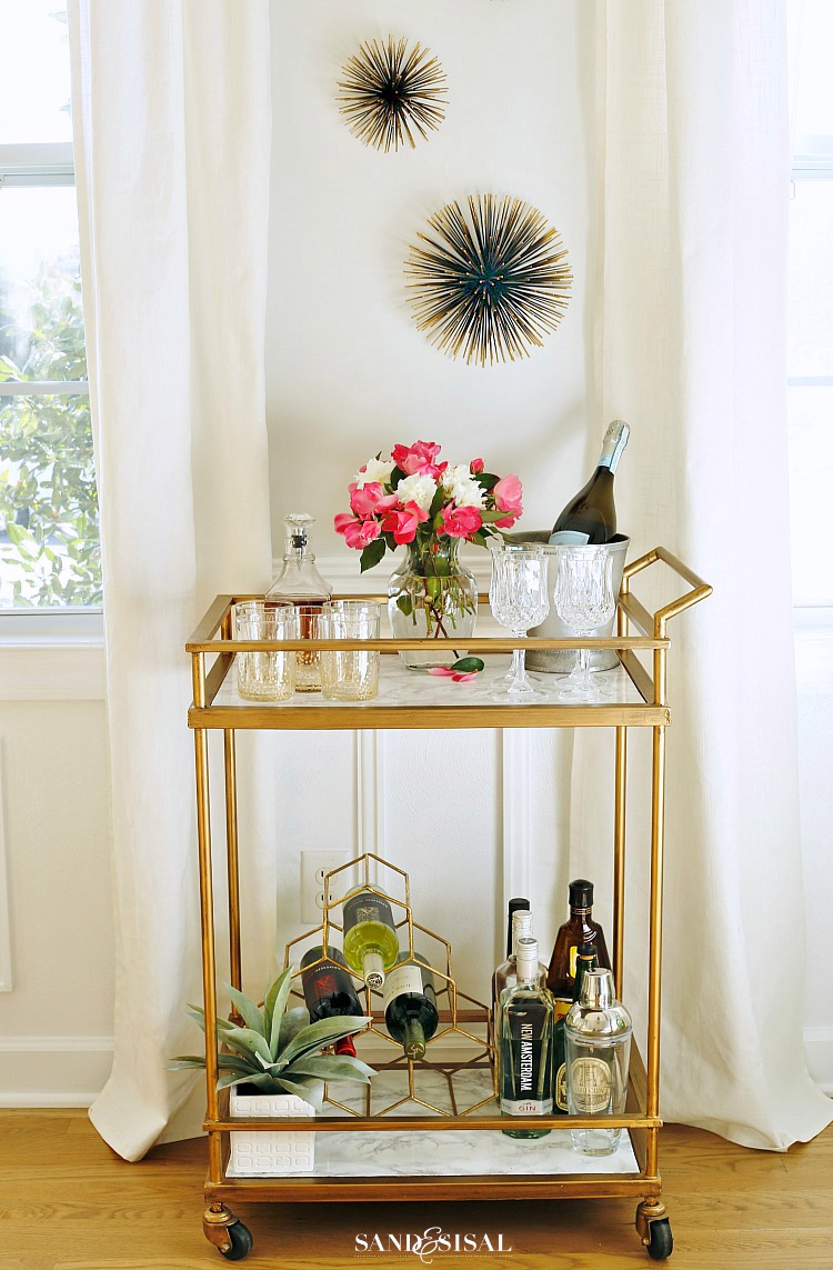 faux-marble-bar-cart-makeover by Sand and Sisal