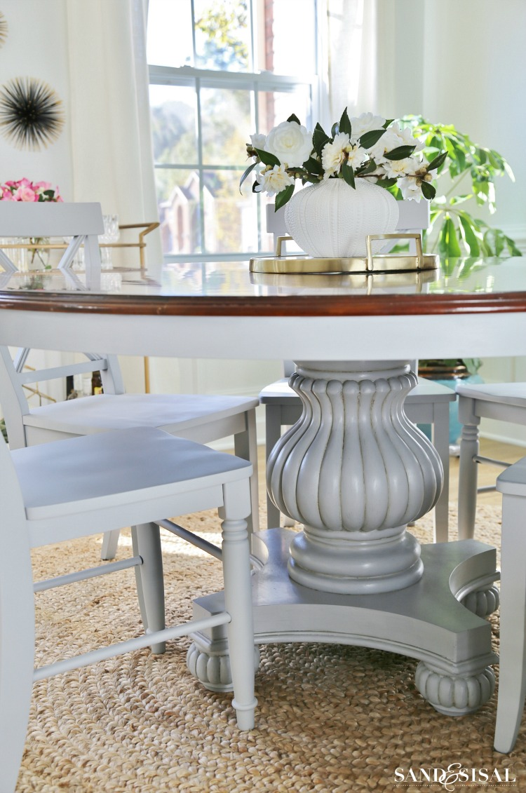 Two Toned Painted Gray Dining Room Table - Chalked Paint