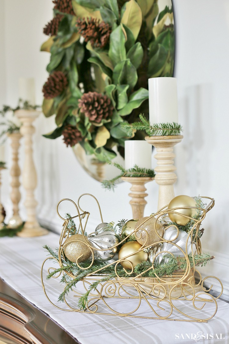 silver-and-gold-christmas-decorations with magnolia wreath