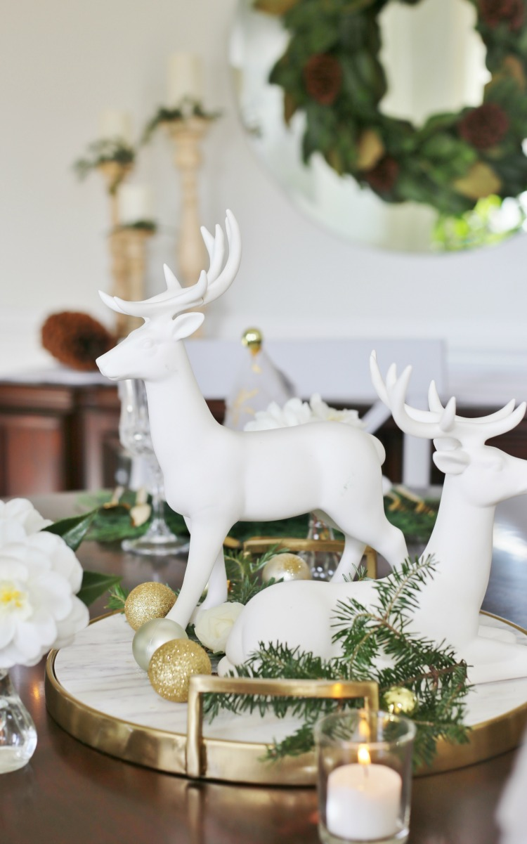 white deer centerpiece - White Deer Christmas Decoration