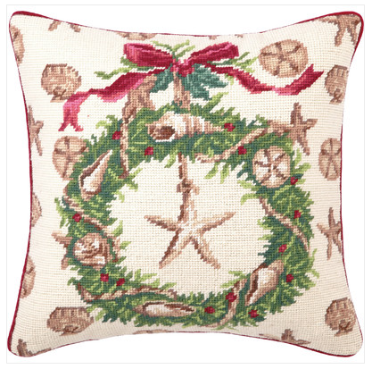 Beach Christmas Needlepoint Pillow - Coastal Christmas Pillows