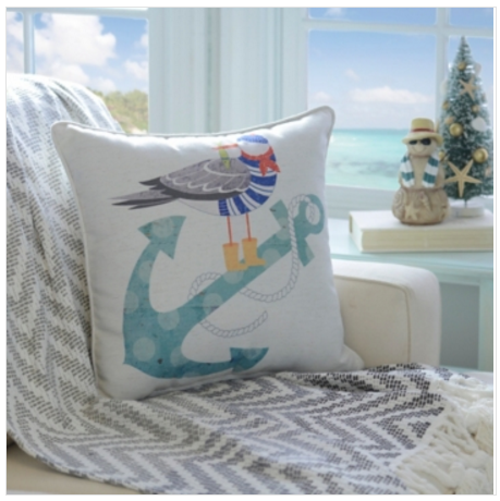 Blue Anchor Coastal Christmas Pillow