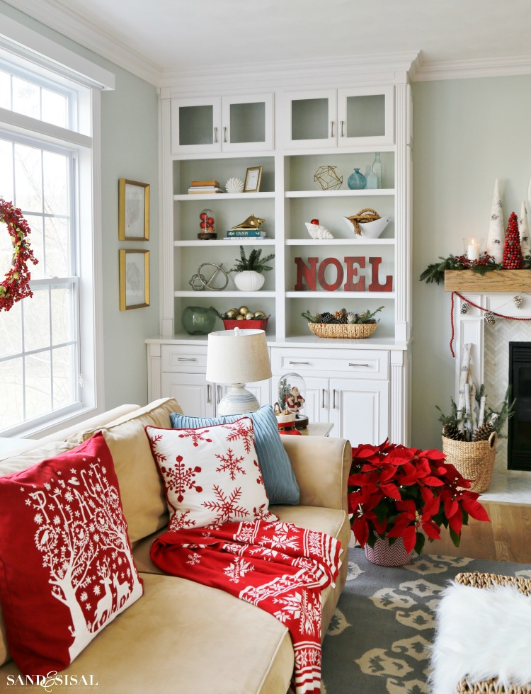 Builtin Bookcases decorated for Christmas