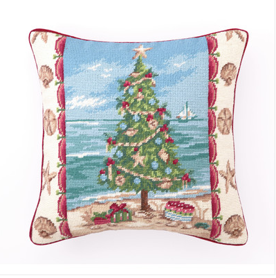 Christmas Tree on the Beach Pillow - Coastal Christmas Pillows
