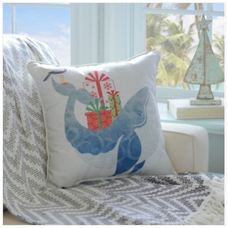 Coastal Christmas-whale-pillow