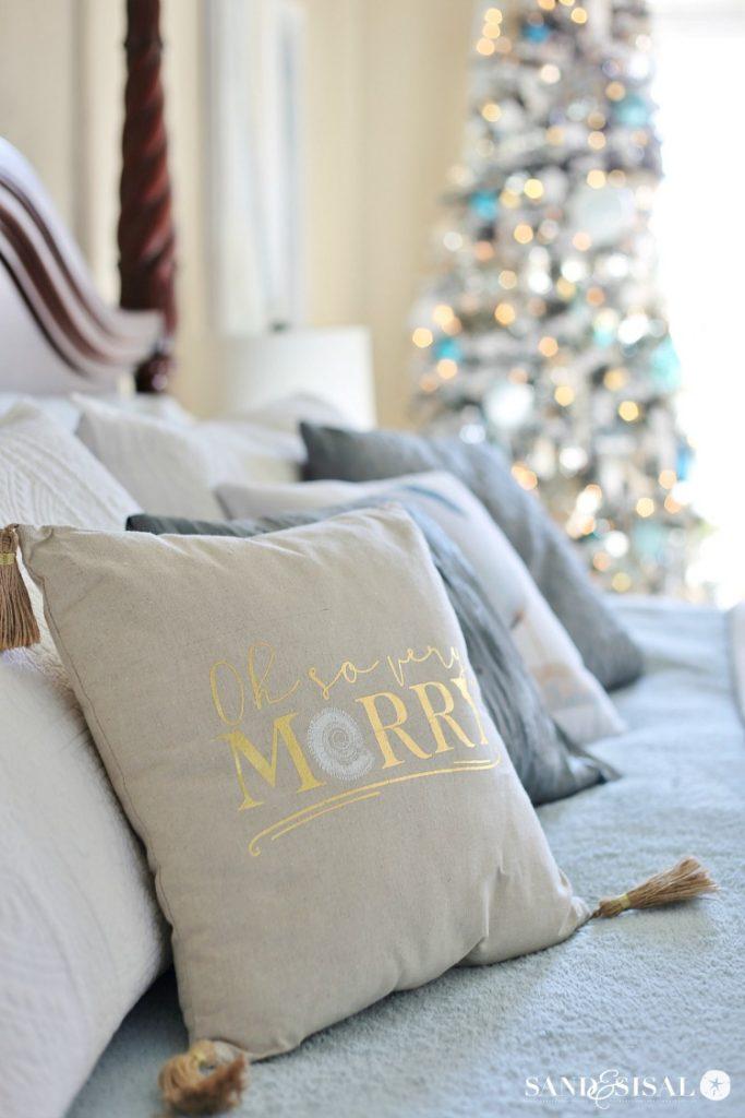Oh So Very Merry Coastal Christmas Pillow