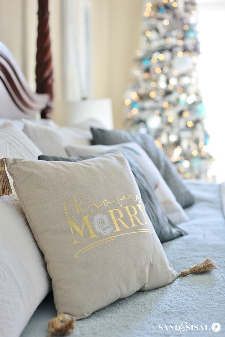 A Classic Coastal Christmas Bedroom Tour + Coastal Christmas Tree + Chic Coastal Christmas Pillows