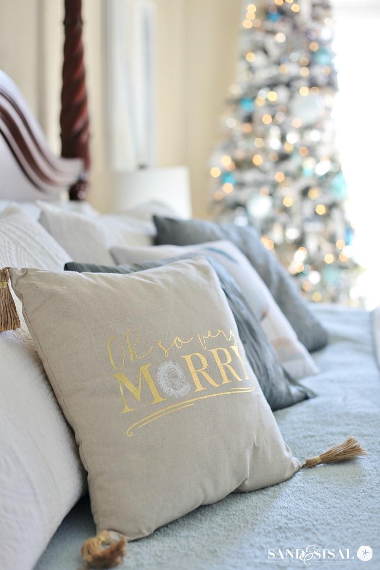 A Classic Coastal Christmas Bedroom Tour + Coastal Christmas Tree + Chic Coastal Christmas Pillows