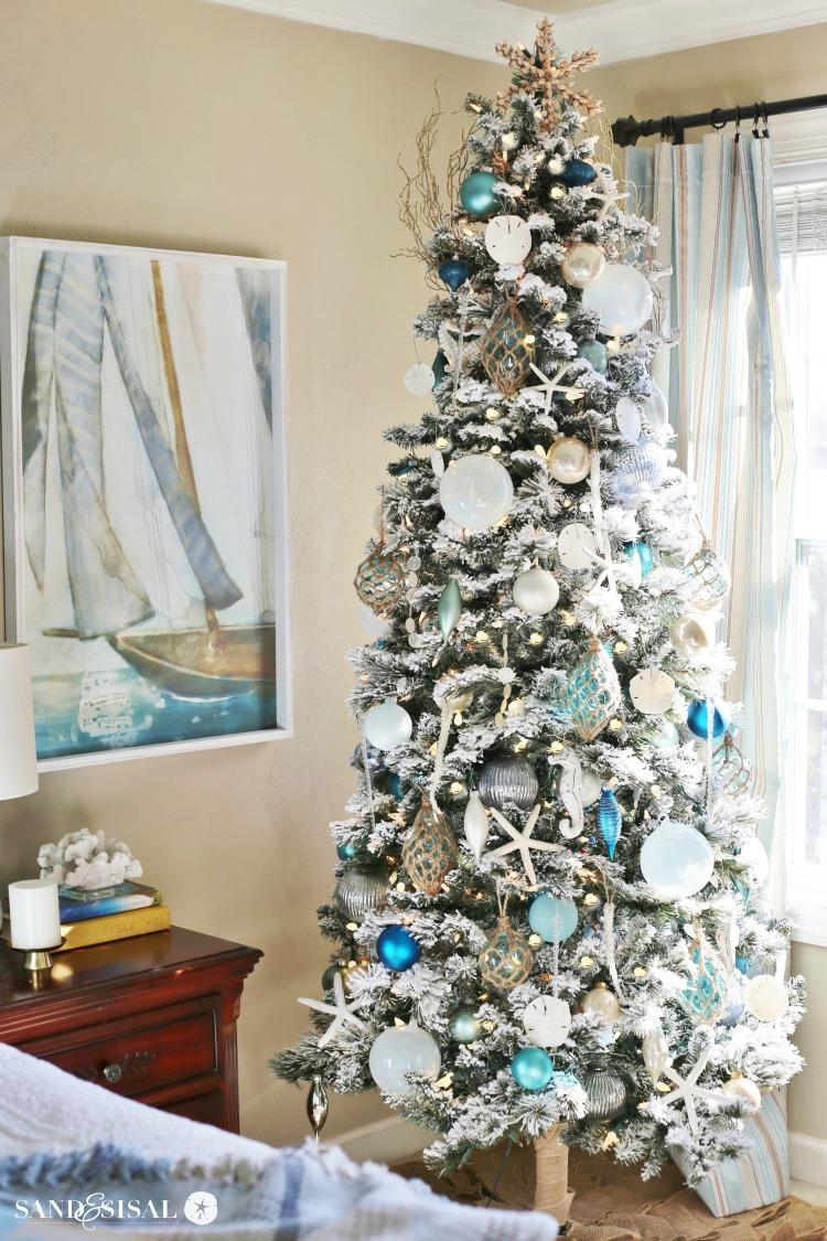 Chic Coastal Christmas Tree and Coastal Bedroom Tour