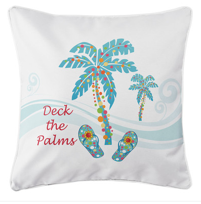 holiday-deck-the-palms-pillow - Coastal Christmas Pillows