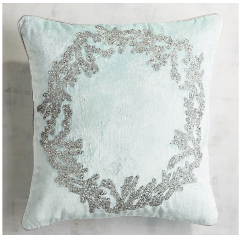 icy blue coral wreath pillow