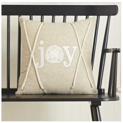 Joy Coastal Pillow Cover - Coastal Christmas Pillows