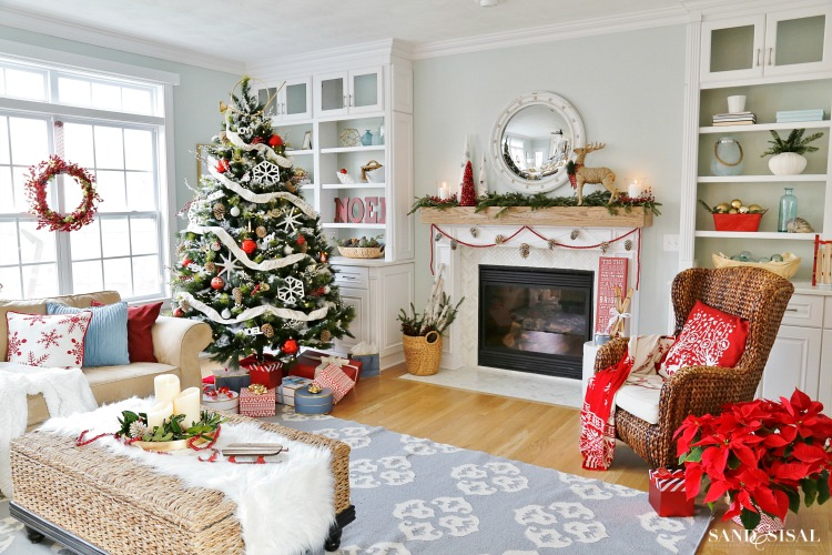 winterberry red white and blue christmas family room. Black Bedroom Furniture Sets. Home Design Ideas