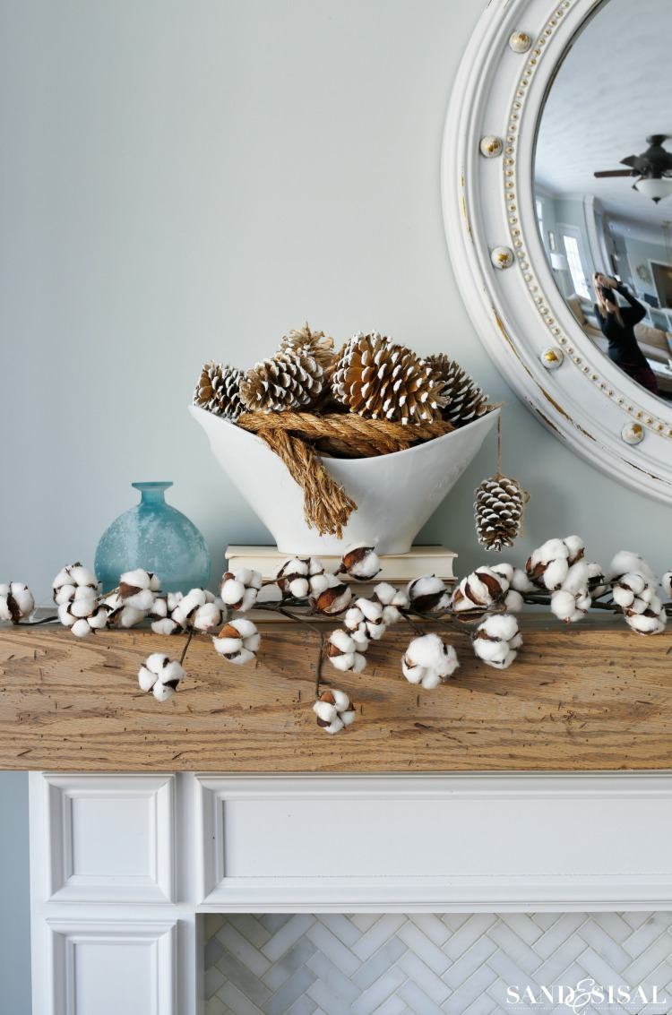 Cozy Winter Mantel - Frosted Pinecones