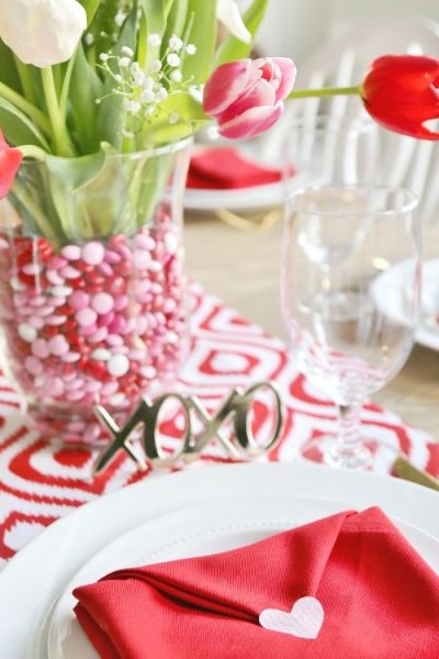Valentine's Day Table Setting with Envelope Napkin Fold