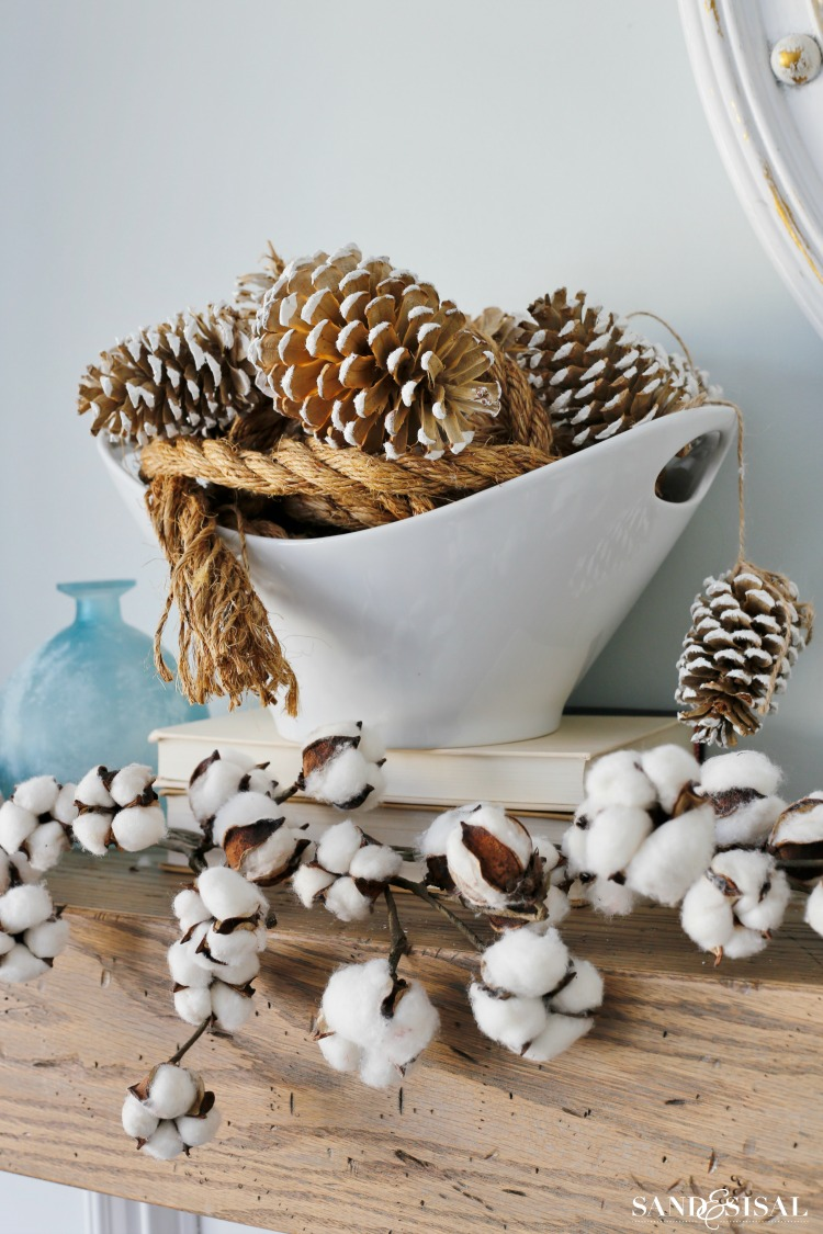 snowy-pinecones-and-cotton-garland