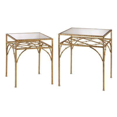 Charmant Gold Bamboo Side Tables
