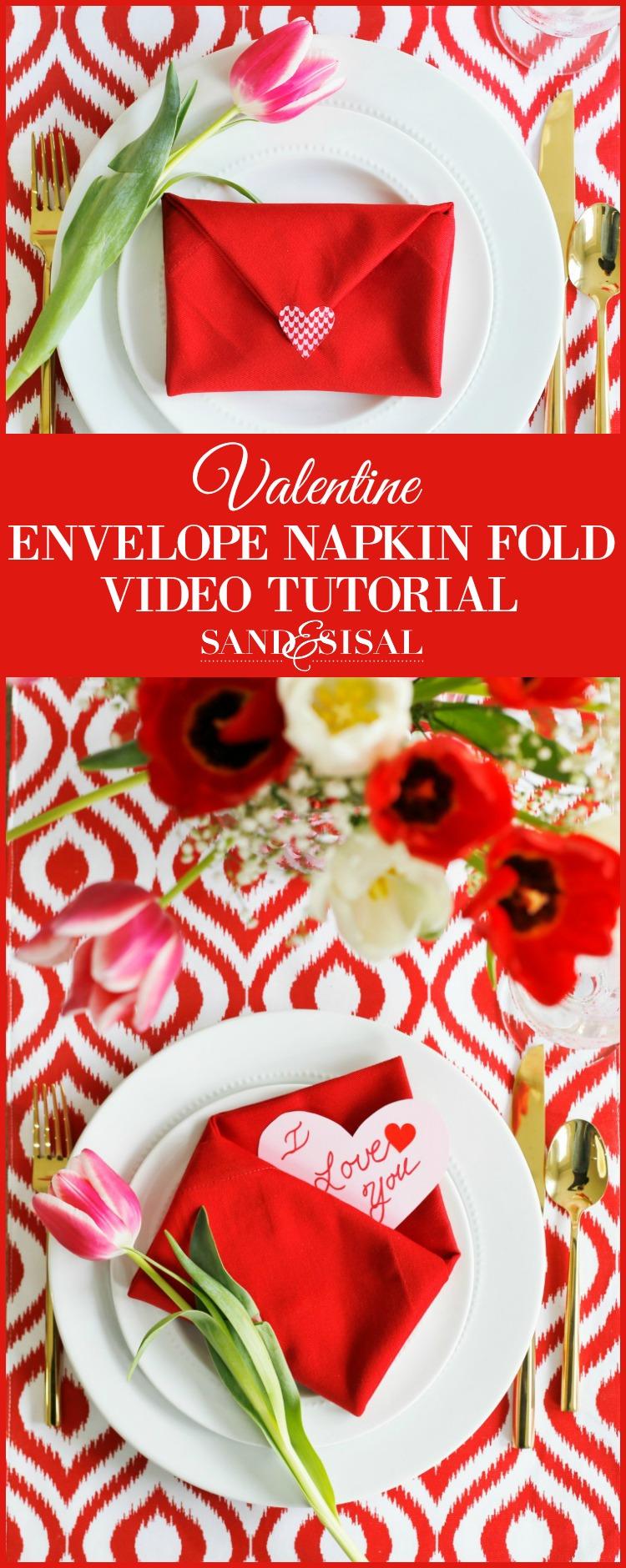 Valentine Envelope Napkin Fold Video Tutorial