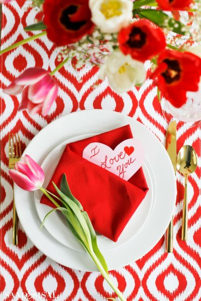 Valentine Tablescape with Envelope Folded Napkin