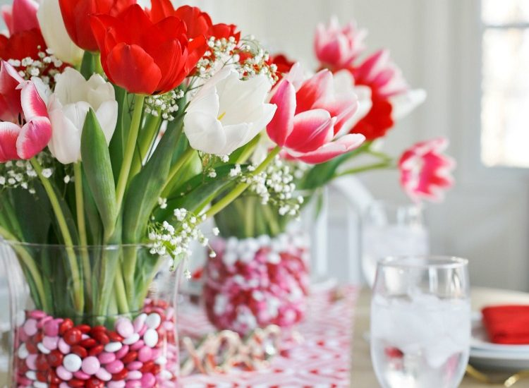 Valentine's Tulip Bouquet with M&M's
