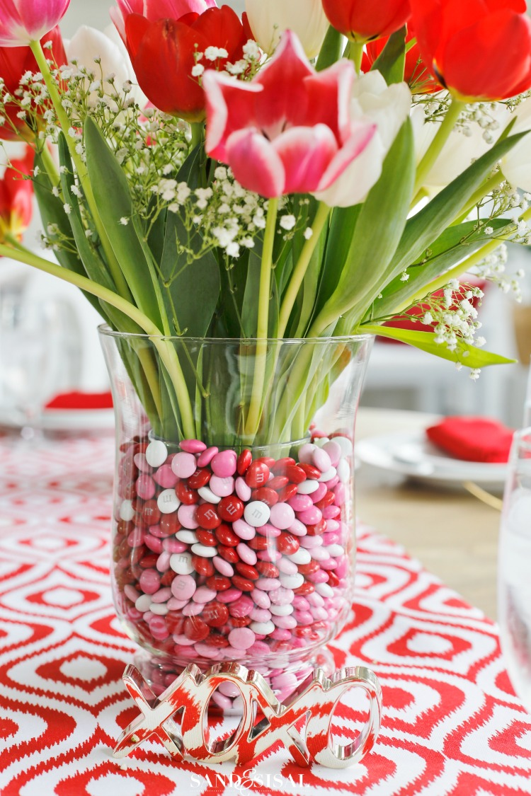 Valentine's Tulip and M&M Flower Arrangement