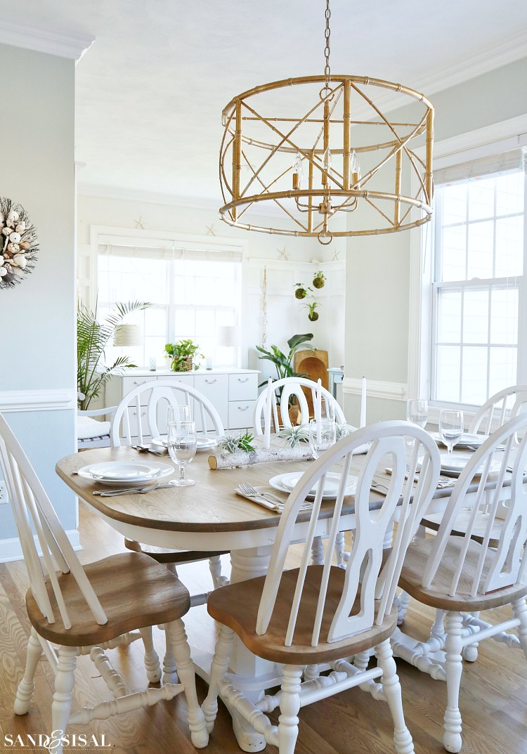 coastal-kitchen-table-gold-bamboo-chandelier