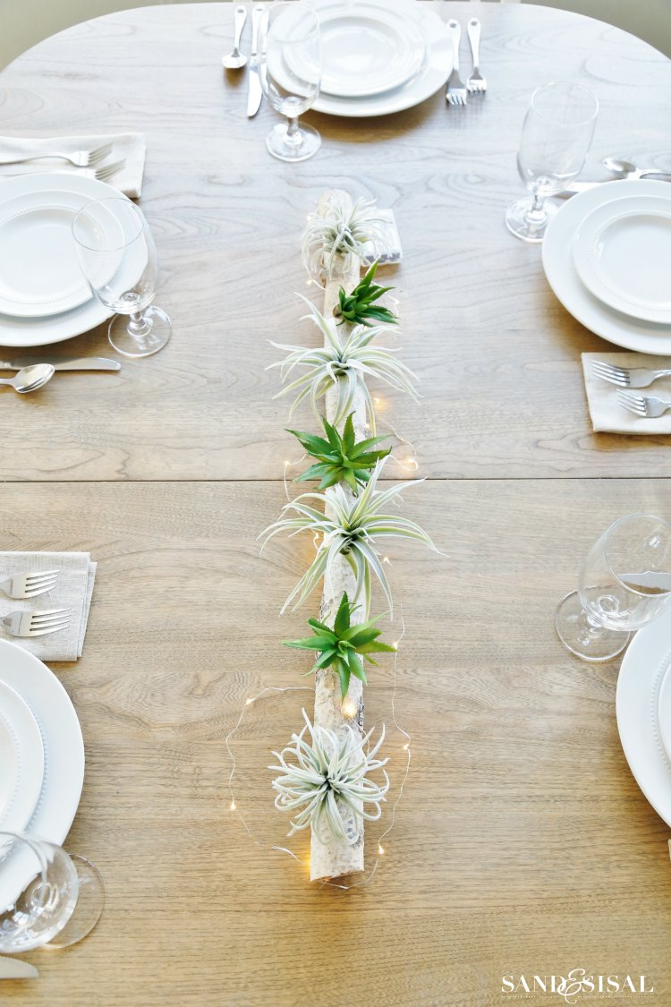 Step Drill Bit >> Birch Log Centerpiece with Air Plants and Succulents - Sand and Sisal