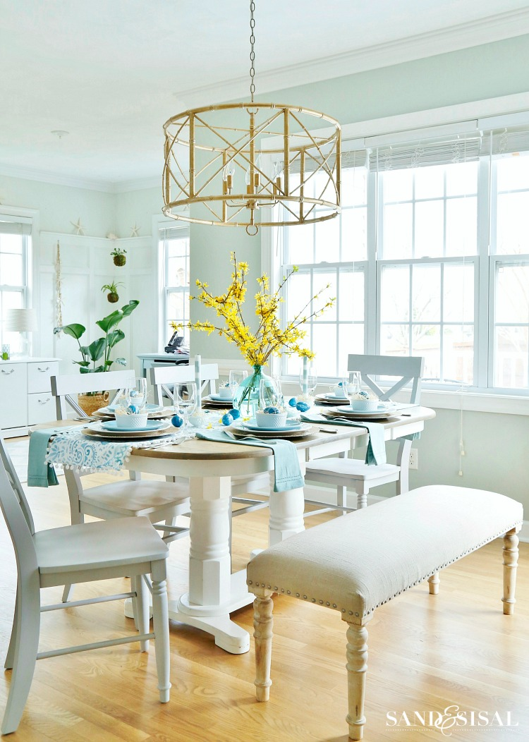 Aqua and Yellow Easter Table