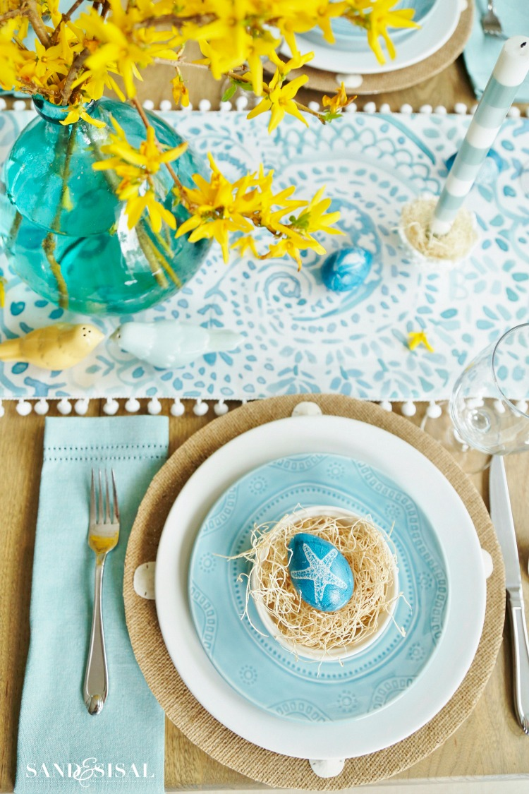 Aqua and Yellow Coastal Easter Tablescape