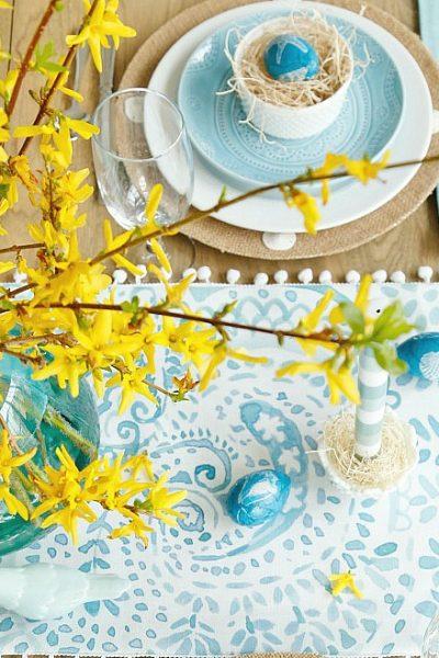 Aqua and Yellow Coastal Easter Tablescape