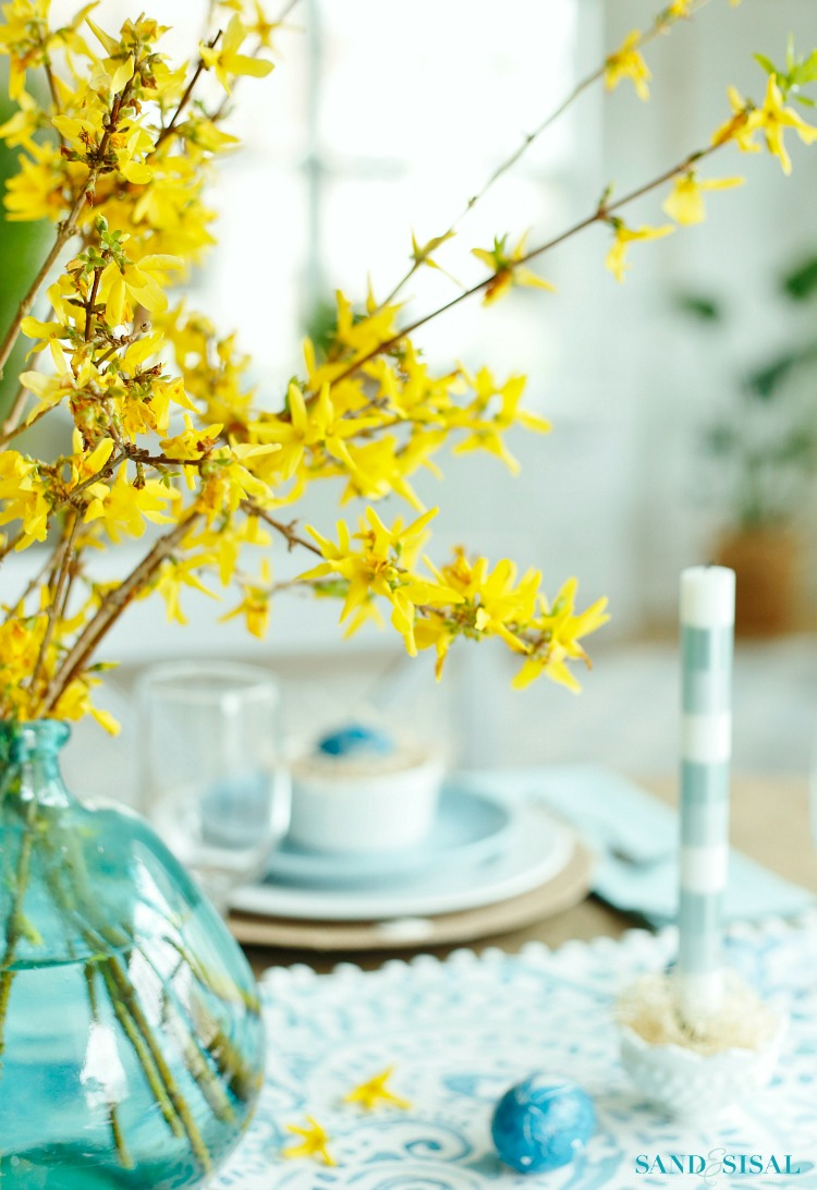 Aqua and Yellow Coastal Easter Tablescape - Sand and Sisal