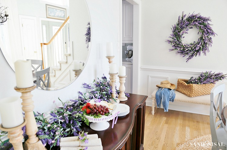 Faux Lavendar Wreath and Florals