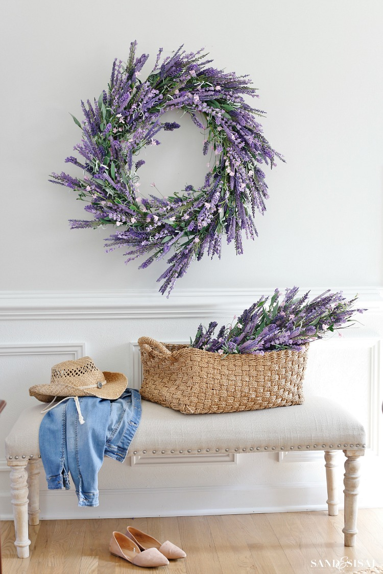 Faux Lavender Wreath - Spring Decorating Ideas