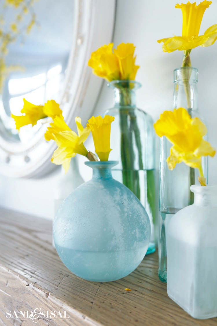 Sea Glass Vases and Daffodils
