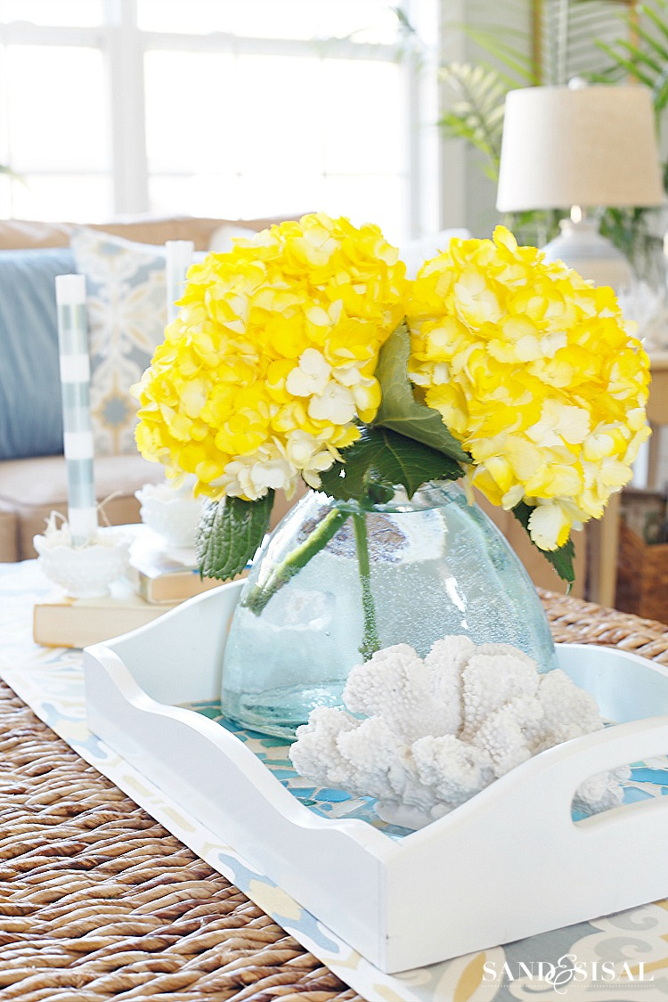 Yellow Hydrangea Centerpiece