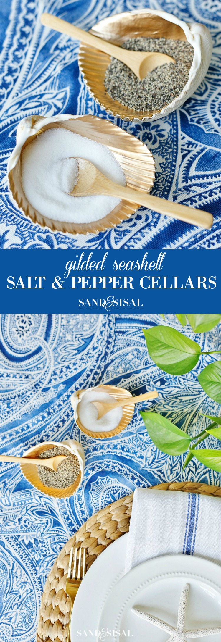 Gilded Seashell Salt and Pepper Cellars: Transform clam shells into gorgeous Shell Salt Cellars. This easy coastal craft will elevate your summer entertaining and diningroom table.