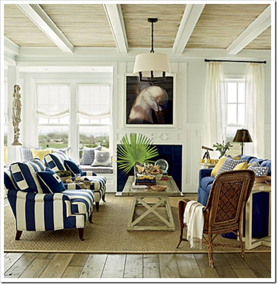 East Beach Coastal Living Room - Wide Plank Flooring