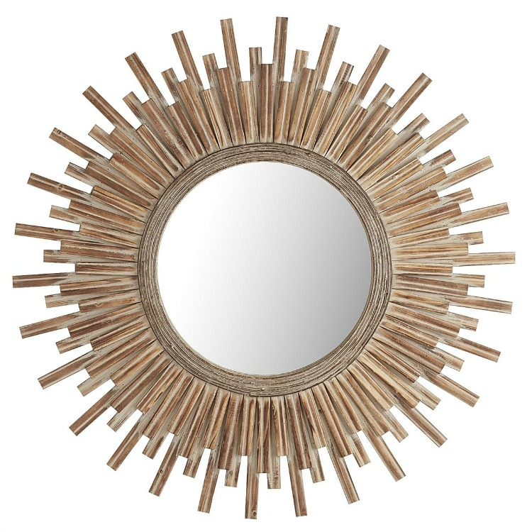 Canyon Round Wood Sunburst Mirror