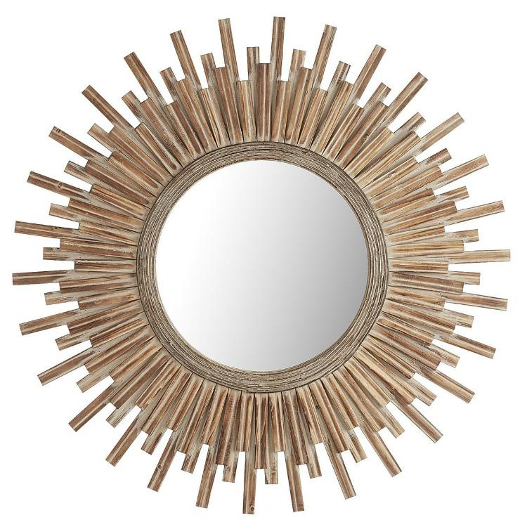 Canyon Round Wood Sunburst Mirror