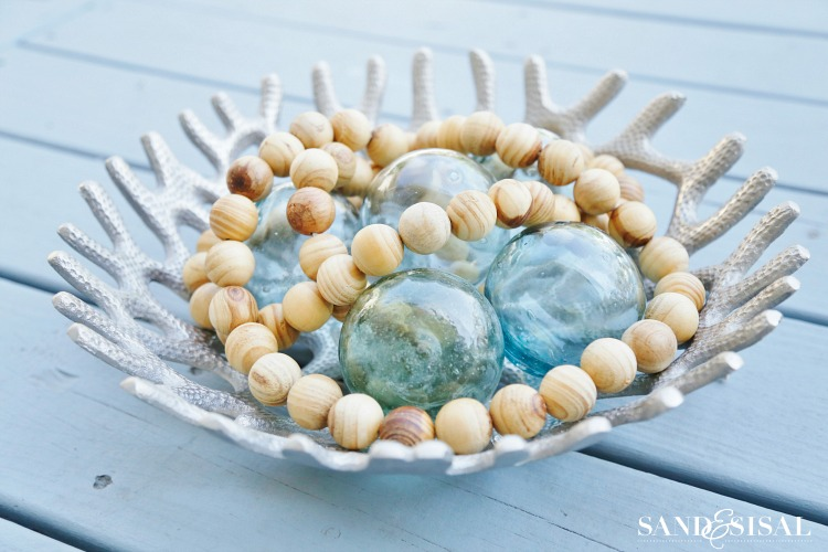 Glass Floats and Wood Bead Strand