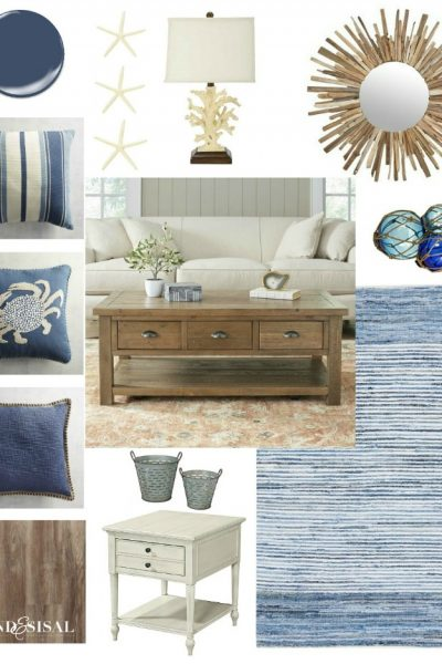 Nautical Media Room Makeover Design Board