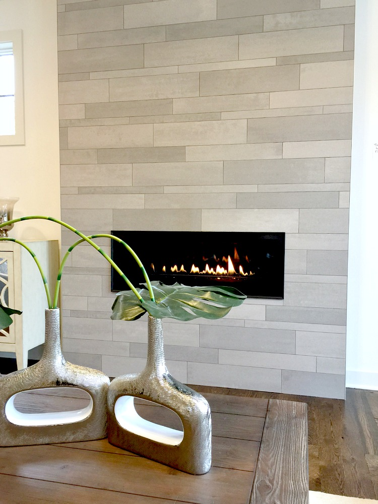 Sustainable9 Home Tour - Tile Plank Modern Fireplace