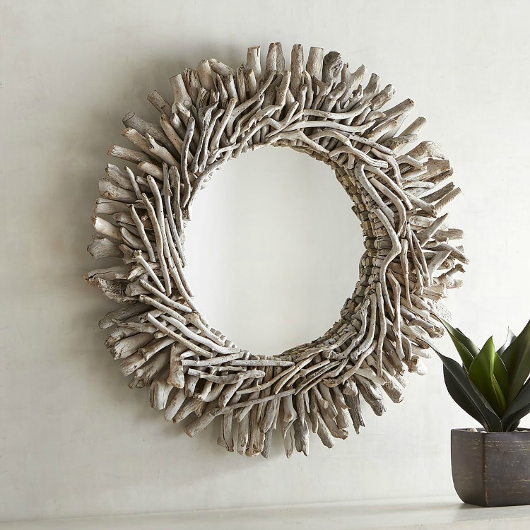White Washed Driftwood Mirror
