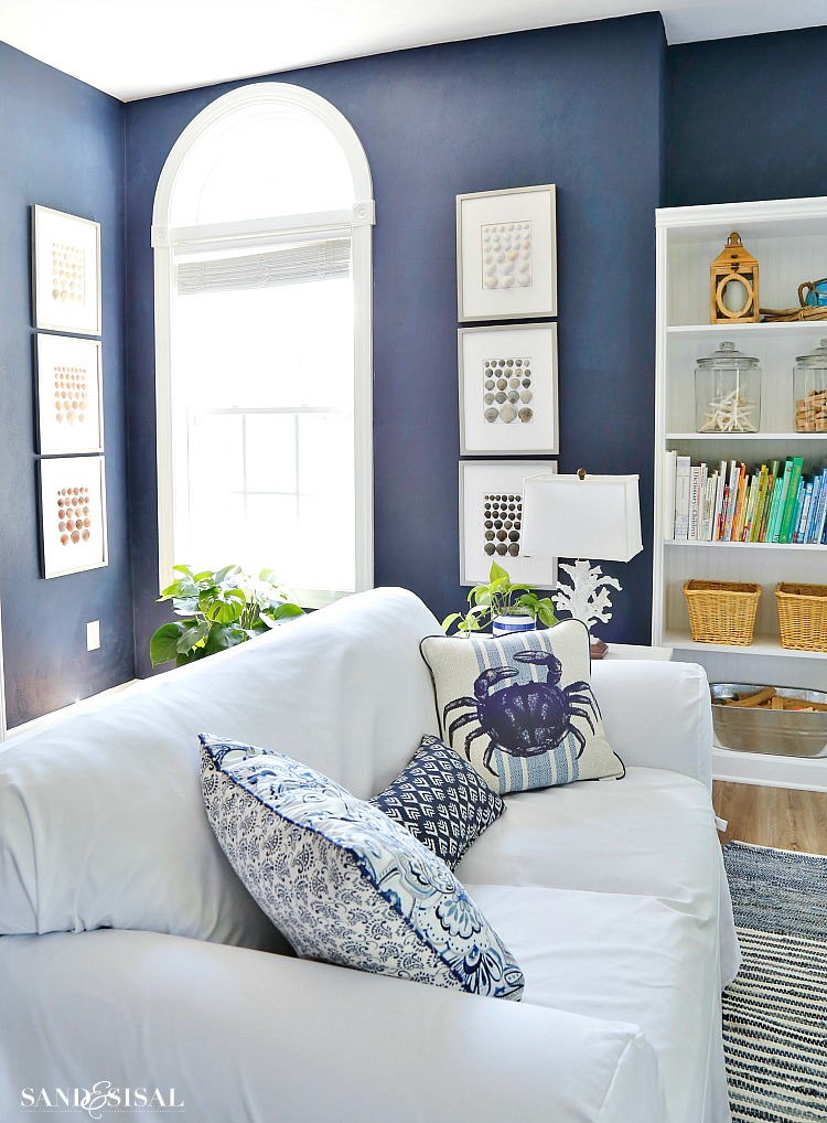 Blue and White Coastal Rec Room