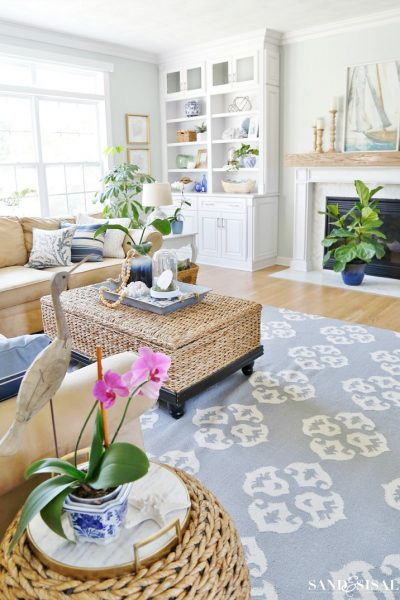 Summer Blues Coastal Family Room Tour
