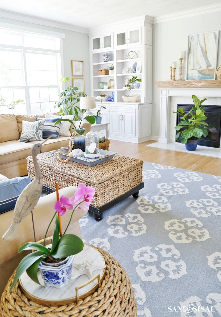 Summer blues coastal family room tour sand and sisal Home decorating ideas coastal