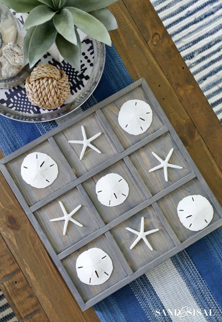 DIY Coastal Tic-Tac-Toe with Starfish and Sand Dollars