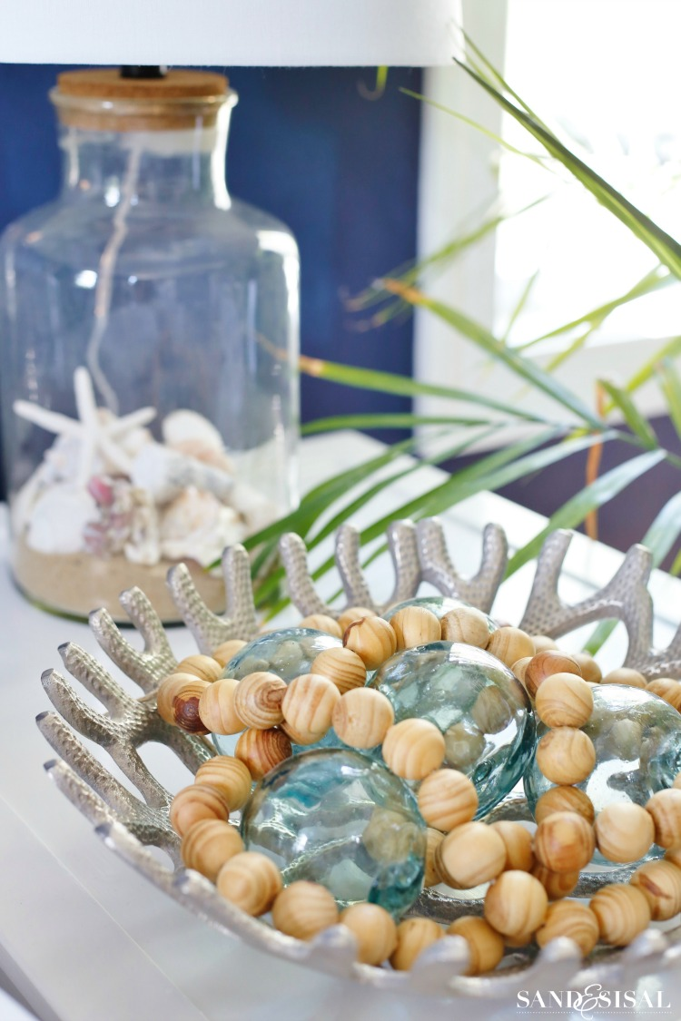 Glass Floats + Wood Beads - Coastal decor