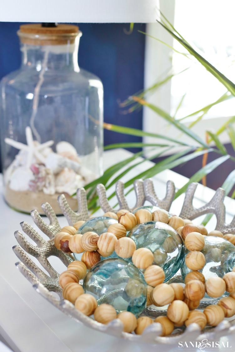 Glass Floats + Wood Beads - Coastal decor