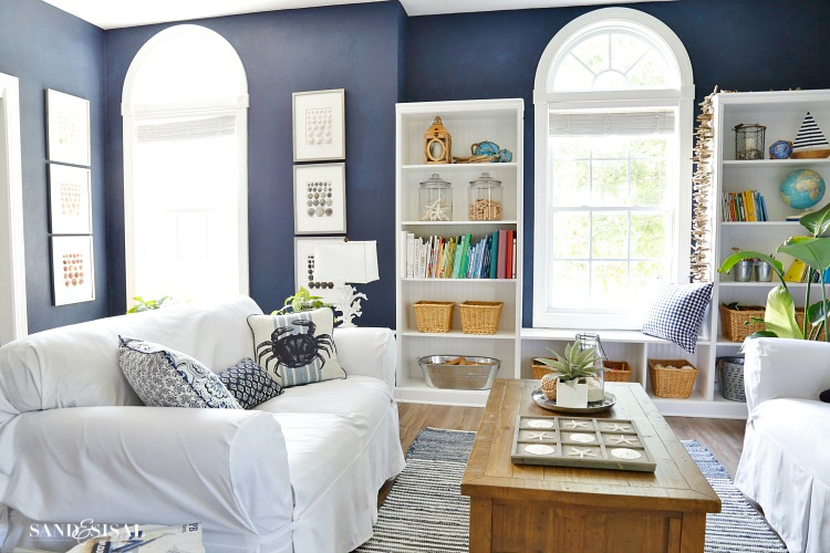 Navy Blue and White Beachy Rec Room